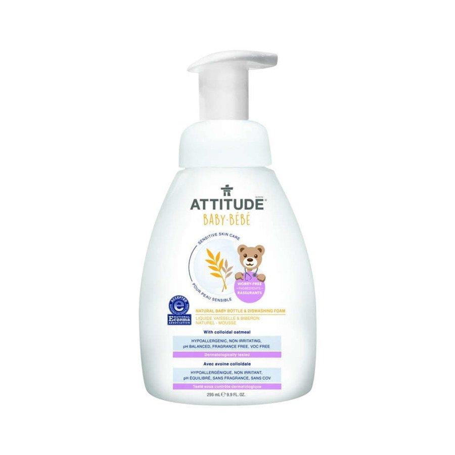 Attitude Naturalna pianka do mycia butelek i naczyń dla niemowląt hipoalergiczna bezzapachowa 295 ml