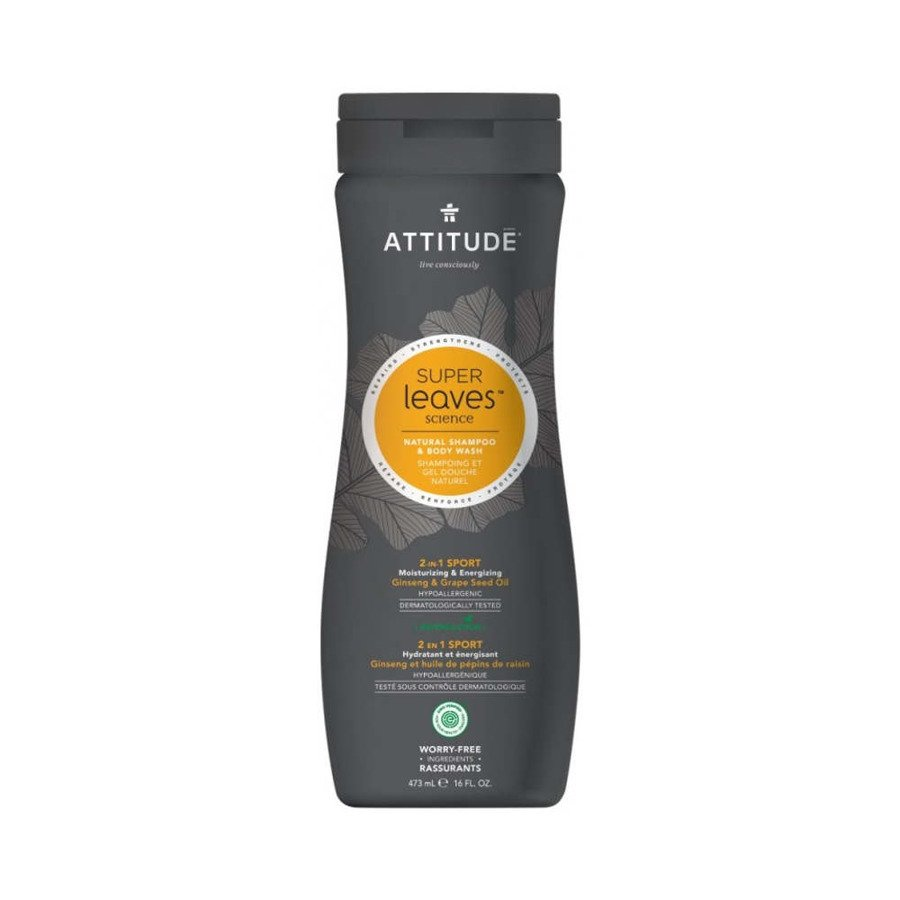 Attitude Szampon i żel do mycia ciała 2w1 dla mężczyzn (żeń-szeń olejek z pestek winogron) hipoalergiczny 473 ml