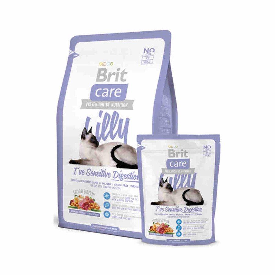 Brit Care Lilly Hipoalergiczna karma sucha dla dorosłych kotów z wrażliwym przewodem pokarmowym jagnięina z łososiem 400 g