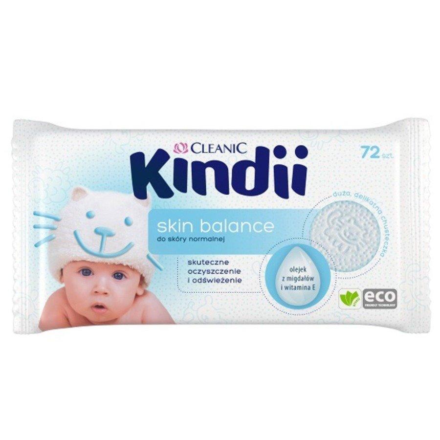 Cleanic Kindii skin balance Hipoalergiczne chusteczki nawilżane 72 szt.