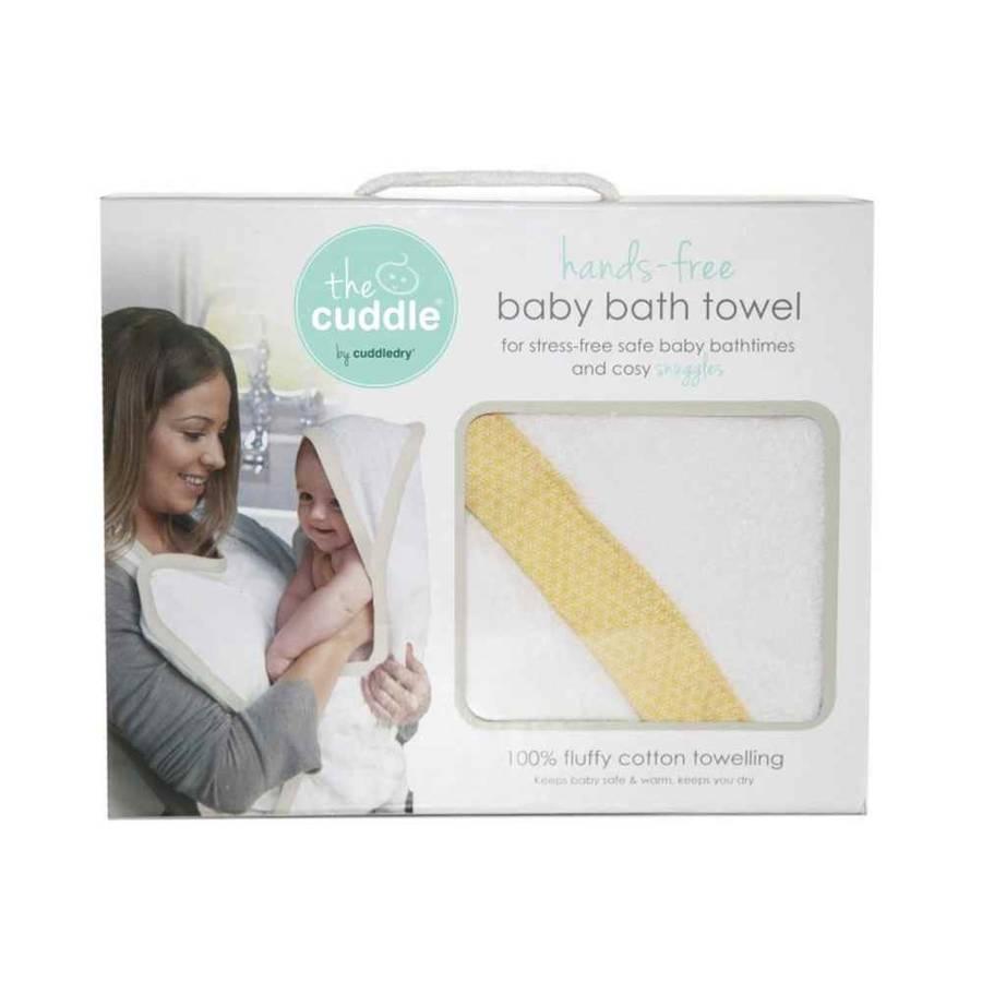 Cuddle Bawełniany ręcznik fartuch biały / musztardowe wzory geometryczne