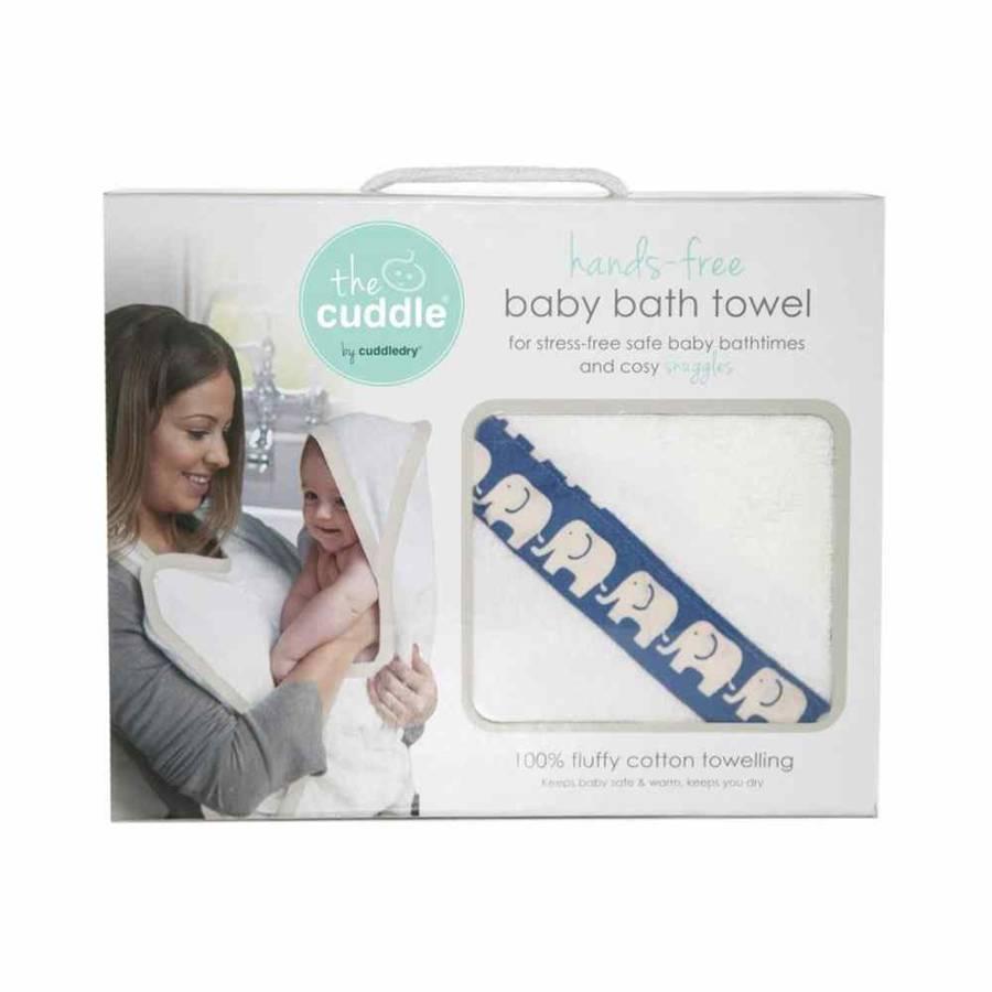 Cuddle Bawełniany ręcznik fartuch biały / niebieskie słoniki