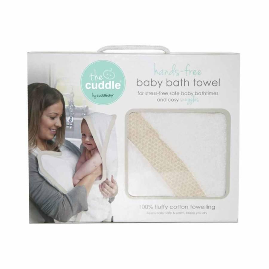 Cuddle Bawełniany ręcznik fartuch biały / piaskowe wzory geometryczne