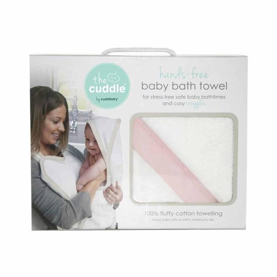 Cuddle Bawełniany ręcznik fartuch biały / różowy