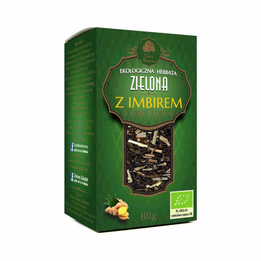 Dary Natury Ekologiczna herbata zielona z imbirem 80 g