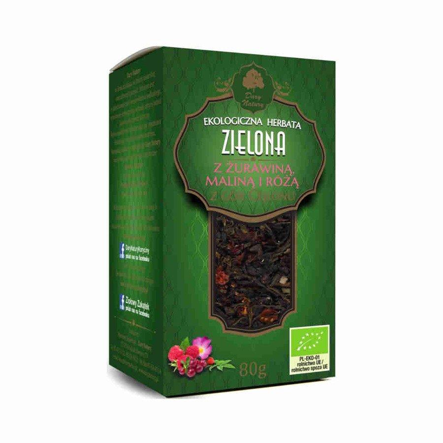 Dary Natury Ekologiczna herbata zielona z żurawiną maliną i różą 80 g