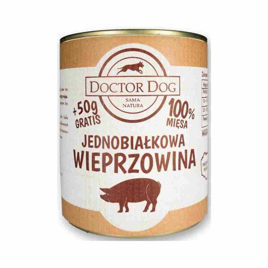 Doctor Dog Jednobiałkowa karma mokra dla psów dorosłych i seniorów wieprzowina bez zbóż 850 g