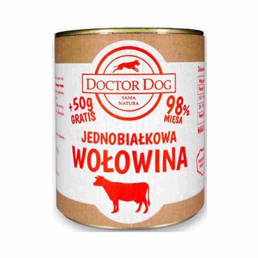 Doctor Dog Jednobiałkowa karma mokra dla psów dorosłych i seniorów wołowina bez zbóż 850 g