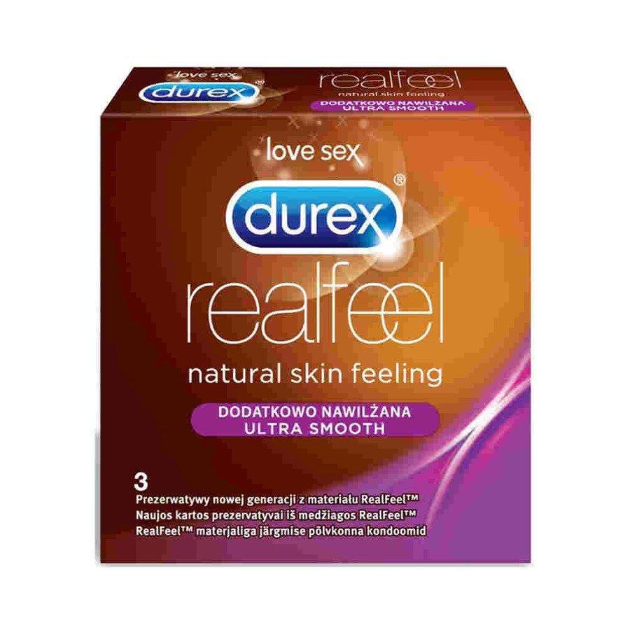 Durex Real Feel Ultra Smooth Prezerwatywy bez lateksu dodatkowo nawilżane 3 szt.