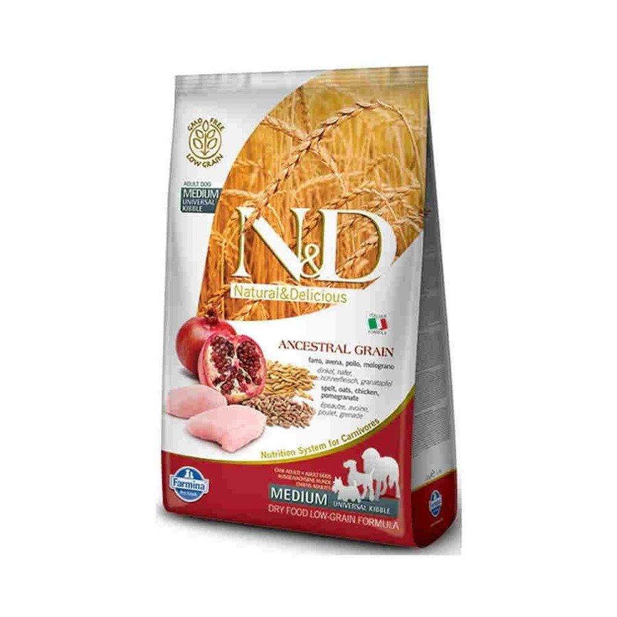 Farmina N&D Low Ancestral Grain Karma sucha o niskiej zawartości prazbóż dla dorosłych psów średnich ras z kurczakiem, orkiszem i owsem 800 g