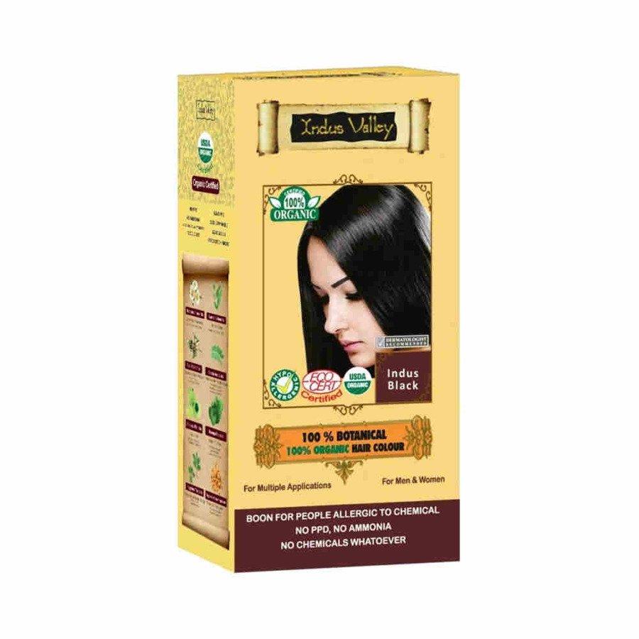 Indus Valley Ziołowa farba do włosów siwych z henną indyjska czerń 120 g