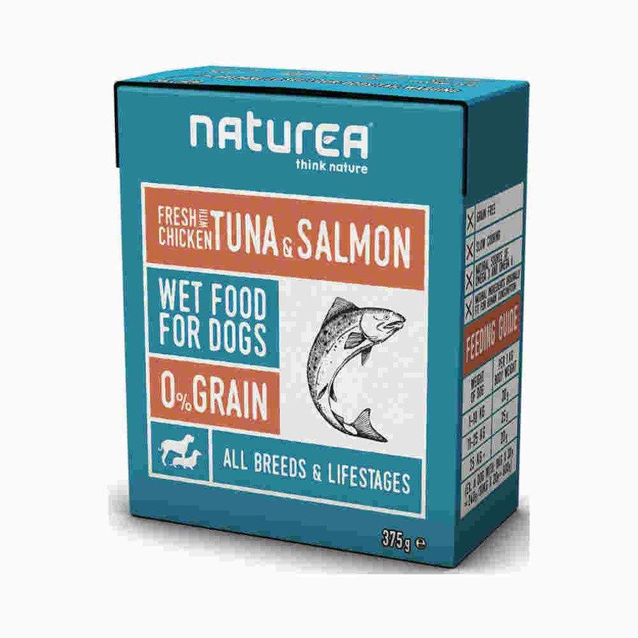 Naturea Bezzbożowa mokra karma dla psów i szczeniąt kurczak z tuńczykiem i łososiem 375 g